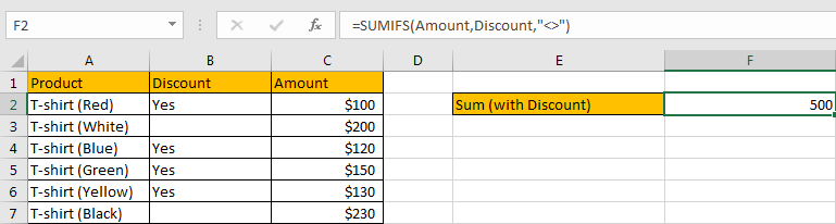 How to Sum by Formula If Cells Are Not Blank in Criteria6