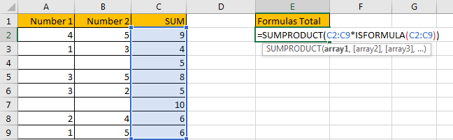 How to Sum for Cell Contains Formula Only in Excel 2