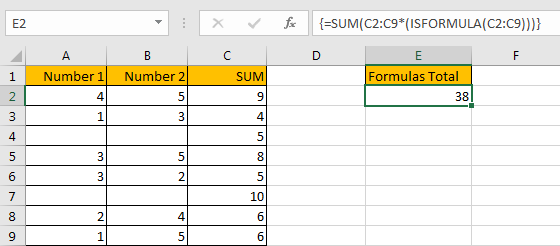 How to Sum for Cell Contains Formula Only in Excel 9