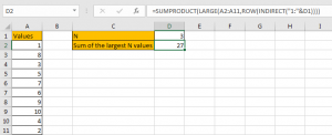 How to Sum the Largest N Values in Excel 14