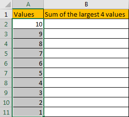 How to Sum the Largest N Values in Excel 3