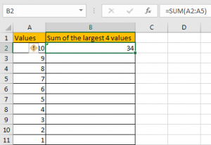 How to Sum the Largest N Values in Excel 4