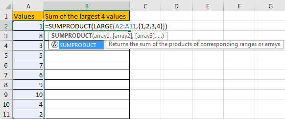 How to Sum the Largest N Values in Excel 5