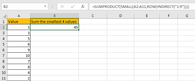 How to Sum the Smallest N Values in Excel 12