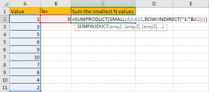 How to Sum the Smallest N Values in Excel 14