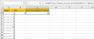 How to Sum the Smallest N Values in Excel 15