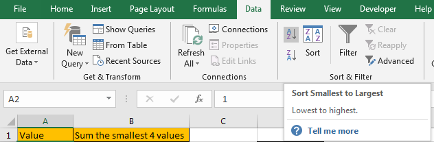 How to Sum the Smallest N Values in Excel 2