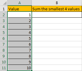 How to Sum the Smallest N Values in Excel 3