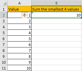 How to Sum the Smallest N Values in Excel 5