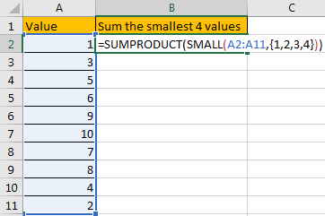 How to Sum the Smallest N Values in Excel 6