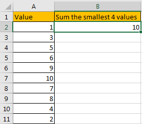 How to Sum the Smallest N Values in Excel 7