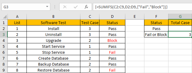 How to Sum with Criteria and Or Logic in Excel 7