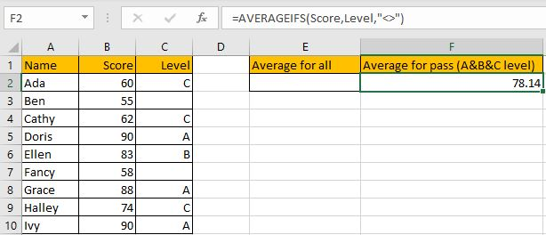 How to Calculate Average If Criteria Not Blank 6