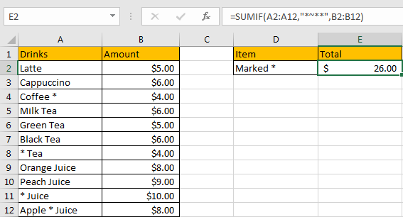 How to Sum if Contains an Asterisk 8
