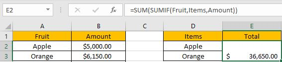 How to Sum if Equal to Many Items 12