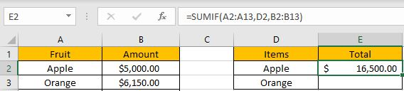 How to Sum if Equal to Many Items 2