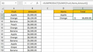 How to Sum if Equal to Many Items 7
