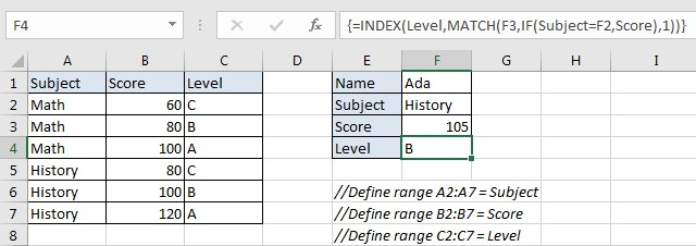 Approximate Match with Multiple Criteria by INDEX & MATCH 1 & 2