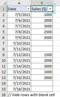 Hide Rows with Blank Cells 1