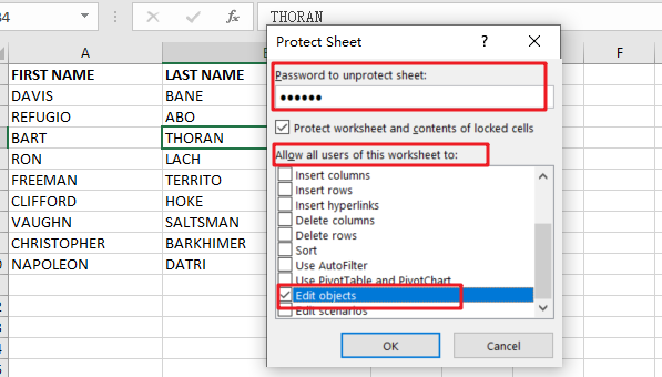 insert commetns in protected workshee3
