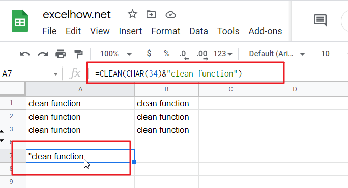 google sheets clean function